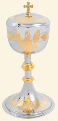 Cibório Dourado Interno com Desenho Uva e Trigo 9218-0