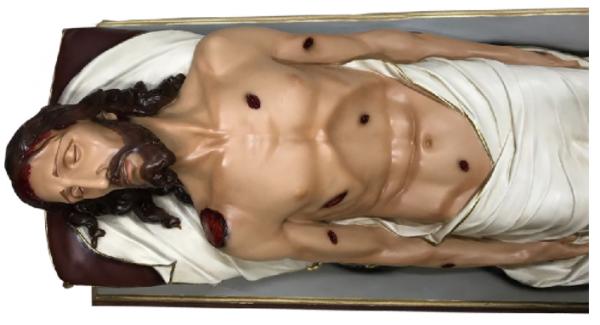 IMAGEM CRISTO SENHOR MORTO RESINA 160 CM C/ BASE DE MADEIRA-1968