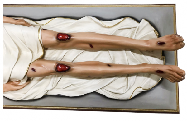 IMAGEM CRISTO SENHOR MORTO RESINA 160 CM C/ BASE DE MADEIRA-1966